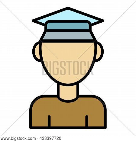 Student Learning Icon. Outline Student Learning Vector Icon Color Flat Isolated