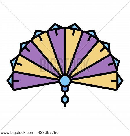 Paper Handheld Fan Icon. Outline Paper Handheld Fan Vector Icon Color Flat Isolated