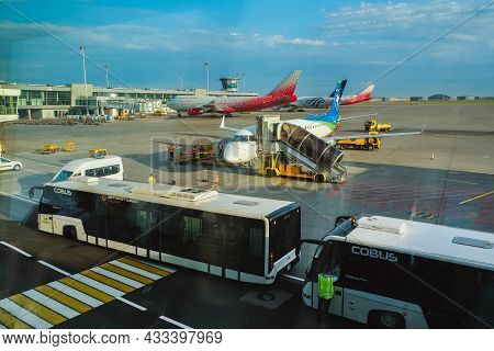 Russia, Moscow, Sheremetyevo Airport, 16 August 2021. The Pegasus Airline Aircraft Is Standing At Th
