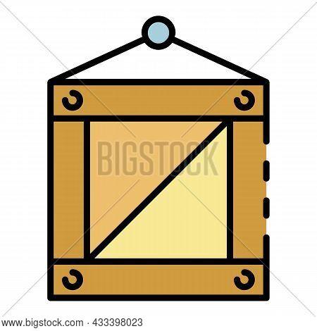 Marine Port Box Icon. Outline Marine Port Box Vector Icon Color Flat Isolated