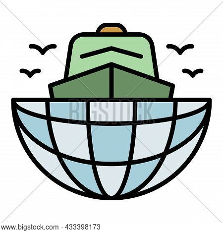 Ship In Global Port Icon. Outline Ship In Global Port Vector Icon Color Flat Isolated