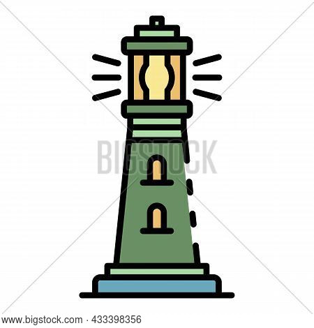 Lighthouse Coast Icon. Outline Lighthouse Coast Vector Icon Color Flat Isolated