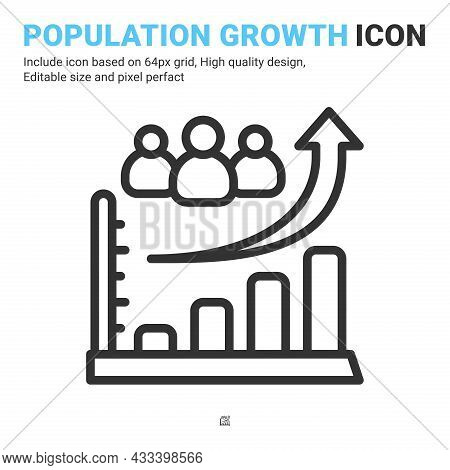 Population Growth Line Icon With Outline Style Isolated On White Background. Vector Illustration Glo