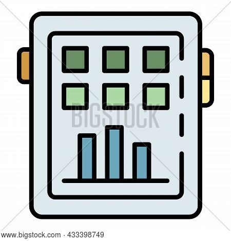 Fitness Graph Apps Icon. Outline Fitness Graph Apps Vector Icon Color Flat Isolated