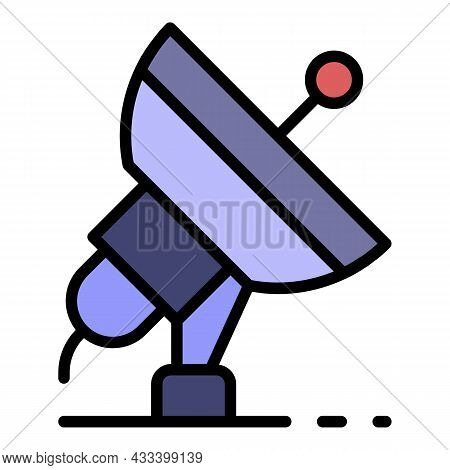 Ground Satellite Icon. Outline Ground Satellite Vector Icon Color Flat Isolated