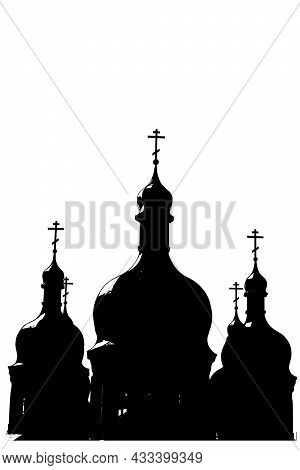 Orthodox Church Vector Illustration. Black Silhouette Of Christ Church On White Background. Religion