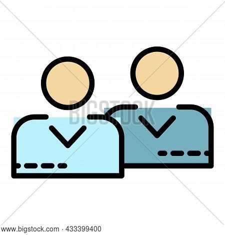 Call Center Agents Icon. Outline Call Center Agents Vector Icon Color Flat Isolated