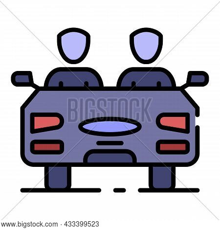 People Driving Car Icon. Outline People Driving Car Vector Icon Color Flat Isolated