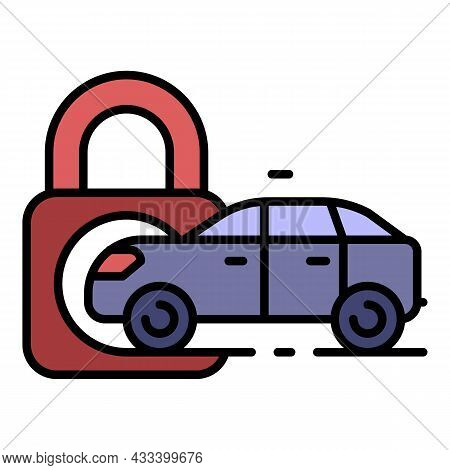 Locked Car Icon. Outline Locked Car Vector Icon Color Flat Isolated