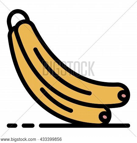 Banana Bunch Icon. Outline Banana Bunch Vector Icon Color Flat Isolated