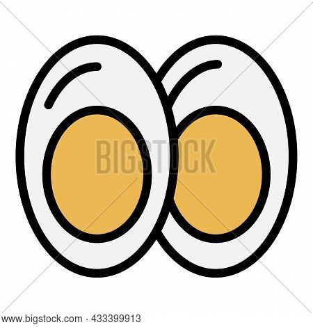 Half Egg Boiled Icon. Outline Half Egg Boiled Vector Icon Color Flat Isolated
