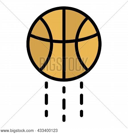 Basketball Ball Jump Icon. Outline Basketball Ball Jump Vector Icon Color Flat Isolated