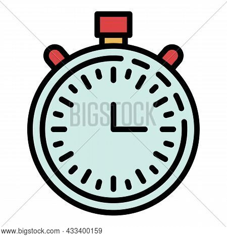 Basketball Stopwatch Icon. Outline Basketball Stopwatch Vector Icon Color Flat Isolated