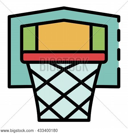 Basketball Equipment Icon. Outline Basketball Equipment Vector Icon Color Flat Isolated