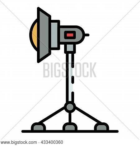 Cinema Light On Tripod Icon. Outline Cinema Light On Tripod Vector Icon Color Flat Isolated