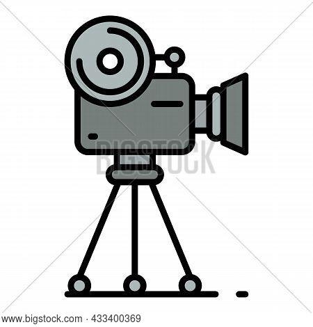 Retro Video Camera Icon. Outline Retro Video Camera Vector Icon Color Flat Isolated