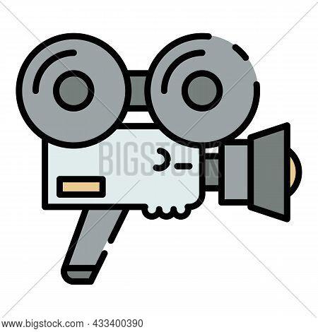 Hand Retro Video Camera Icon. Outline Hand Retro Video Camera Vector Icon Color Flat Isolated