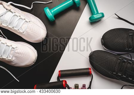 Flat Lay Sport With Sport Shoes On White And Blackbackground. Concept Healthy Lifestyle, Sport And D