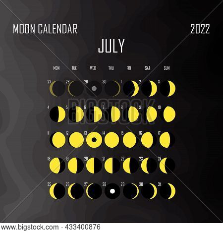July 2022 Moon Calendar. Astrological Calendar Design. Planner. Place For Stickers. Month Cycle Plan