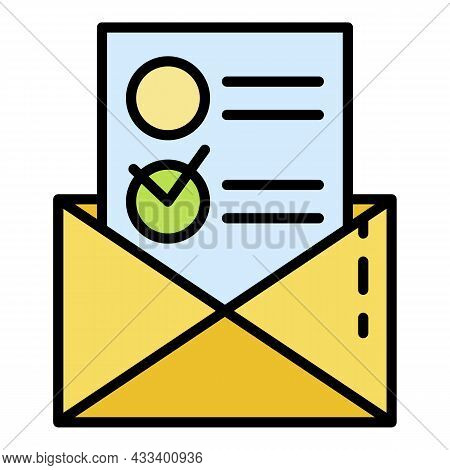 Paper Vote Envelope Icon. Outline Paper Vote Envelope Vector Icon Color Flat Isolated