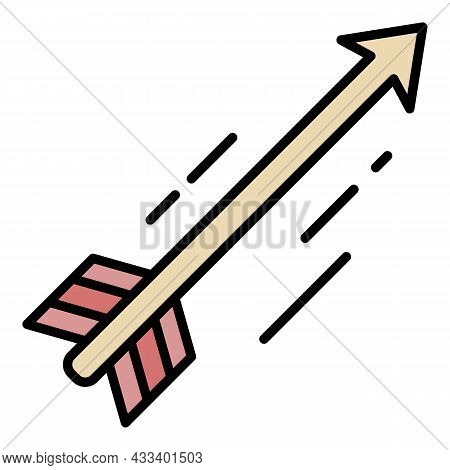 Flying Arrow Icon. Outline Flying Arrow Vector Icon Color Flat Isolated