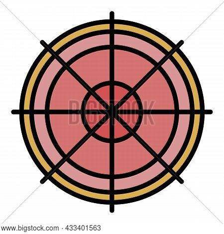 Sniper Aim Icon. Outline Sniper Aim Vector Icon Color Flat Isolated