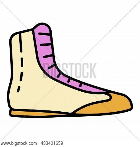 Boxing Shoe Icon. Outline Boxing Shoe Vector Icon Color Flat Isolated