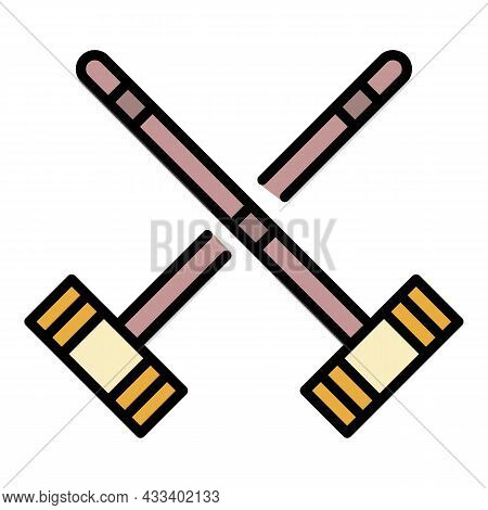 Croquet Cross Mallet Icon. Outline Croquet Cross Mallet Vector Icon Color Flat Isolated