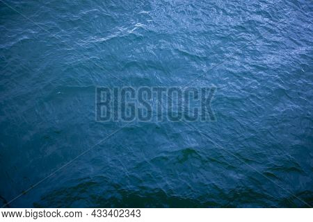 Aerial View Of Ripple Sea Waves. Water Sea Or Ocean For Background. Blue Sea Texture With Waves.