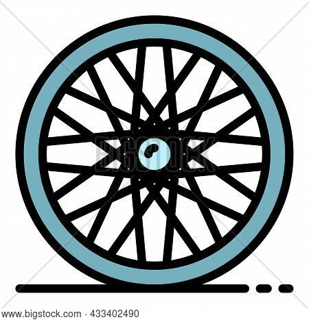 Cycling Back Wheel Icon. Outline Cycling Back Wheel Vector Icon Color Flat Isolated
