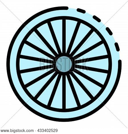 Cycling Bike Wheel Icon. Outline Cycling Bike Wheel Vector Icon Color Flat Isolated