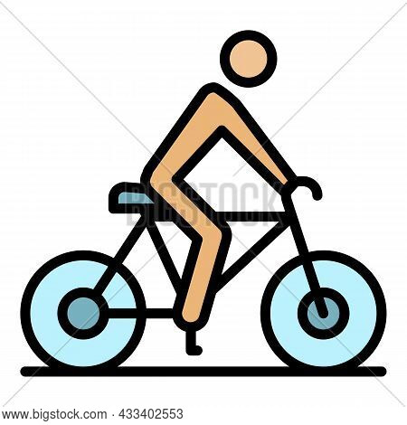 Cycling Man Icon. Outline Cycling Man Vector Icon Color Flat Isolated