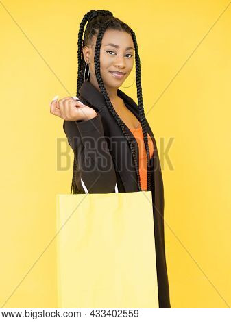 Shopping Purchase. Season Sale. Store Discount. Satisfied African Woman With Mockup Brand Logo Shopp