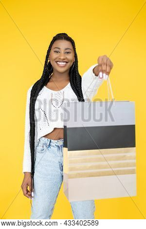 Customer Consumerism. Retail Service. Giveaway Marketing. Joyful Afro Woman Reaching Mockup Purchase