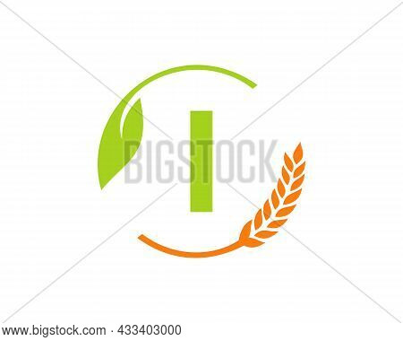 Agriculture Logo On I Letter Concept. Agriculture And Farming Logo Design. Agribusiness, Eco-farm An