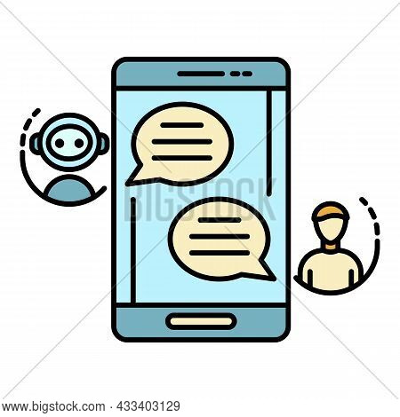 Chat Bot Talk Smartphone Icon. Outline Chat Bot Talk Smartphone Vector Icon Color Flat Isolated