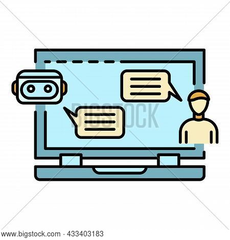 Chat Bot Talk Laptop Icon. Outline Chat Bot Talk Laptop Vector Icon Color Flat Isolated