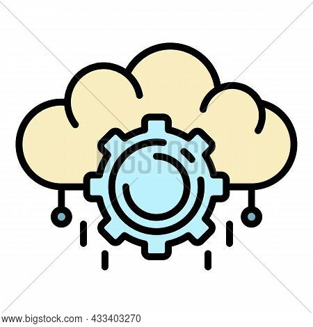 Ai Cloud Management Icon. Outline Ai Cloud Management Vector Icon Color Flat Isolated