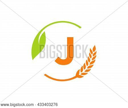 Agriculture Logo On J Letter Concept. Agriculture And Farming Logo Design. Agribusiness, Eco-farm An