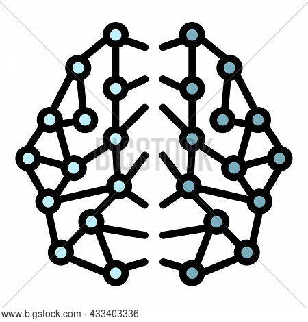 Ai Brain Network Icon. Outline Ai Brain Network Vector Icon Color Flat Isolated