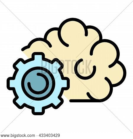Gear Ai Technology Icon. Outline Gear Ai Technology Vector Icon Color Flat Isolated