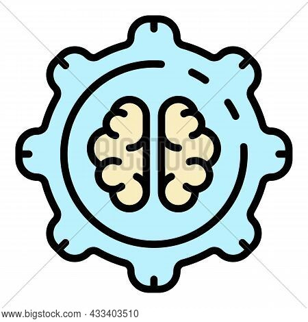 Ai Brain Gear Technology Icon. Outline Ai Brain Gear Technology Vector Icon Color Flat Isolated