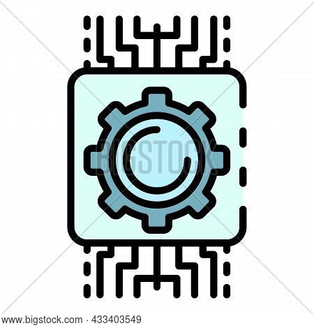 Ai Gear System Icon. Outline Ai Gear System Vector Icon Color Flat Isolated