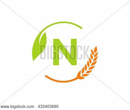 Agriculture Logo On N Letter Concept. Agriculture And Farming Logo Design. Agribusiness, Eco-farm An