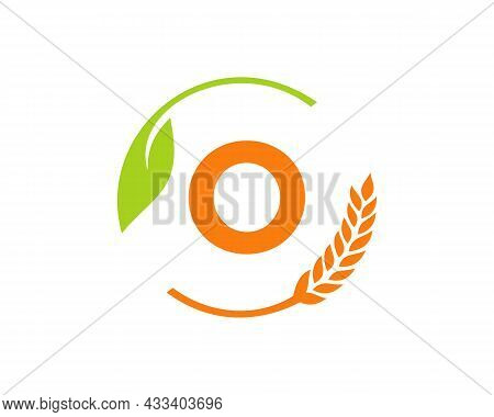 Agriculture Logo On O Letter Concept. Agriculture And Farming Logo Design. Agribusiness, Eco-farm An