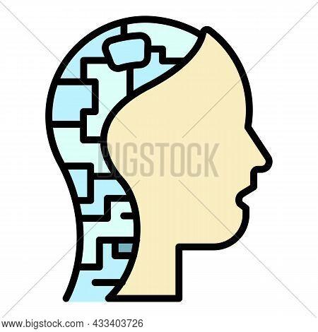 Cyborg Head Icon. Outline Cyborg Head Vector Icon Color Flat Isolated