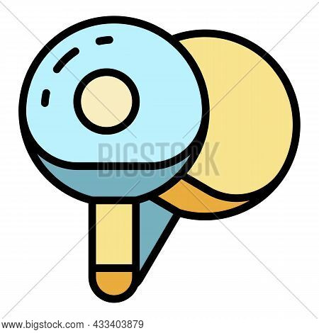 Ping Pong Paddles Icon. Outline Ping Pong Paddles Vector Icon Color Flat Isolated