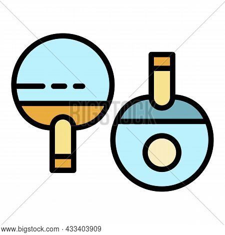 Two Ping Pong Paddles Icon. Outline Two Ping Pong Paddles Vector Icon Color Flat Isolated