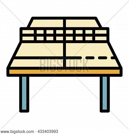 Ping Pong Table Perspective Icon. Outline Ping Pong Table Perspective Vector Icon Color Flat Isolate