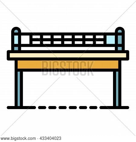 Ping Pong Table Front View Icon. Outline Ping Pong Table Front View Vector Icon Color Flat Isolated